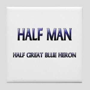 Half Man Half Great Blue Heron Tile Coaster