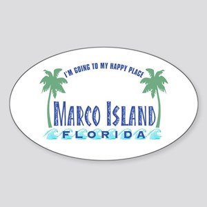 Marco Island Happy Place - Oval Sticker