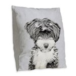 TIbetan Terrier Burlap Throw Pillow