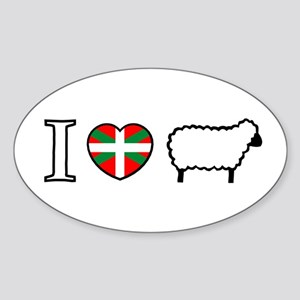 I <heart> Sheep Oval Sticker