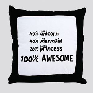 Unicorn Mermaid Princess C5i9v Throw Pillow