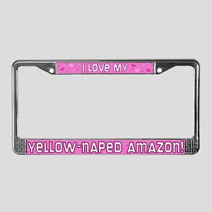 Pink Polka Dot YN Amazon License Plate Frame