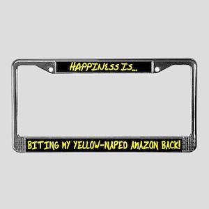 HI Biting Yellow Naped Amazon License Plate Frame
