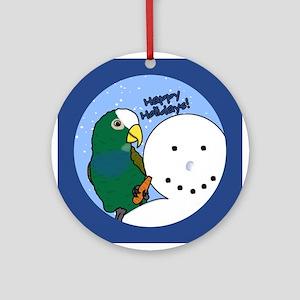 Snowman White Capped Pionus Christmas Ornament
