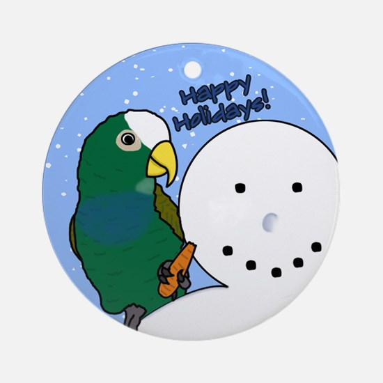 Snowman White Capped Pionus Christmas Ornament