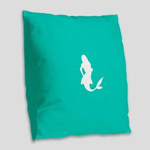 Mermaid (Aqua) Burlap Throw Pillow
