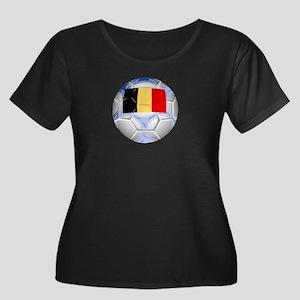 Belgium Soccer Women's Plus Size Scoop Neck Dark T