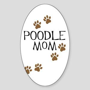 Poodle Mom Oval Sticker
