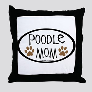 Poodle Mom Oval Throw Pillow