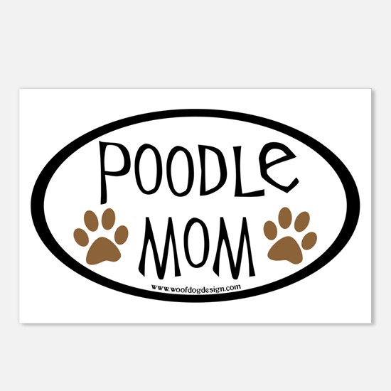 Poodle Mom Oval Postcards (Package of 8)