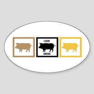 I Love Pork Adobo Oval Sticker