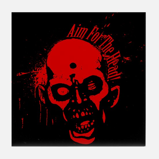 Aim for the Head - Red&Black Tile Coaster