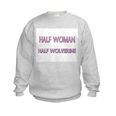 Half Woman Half Wolverine Kids Sweatshirt