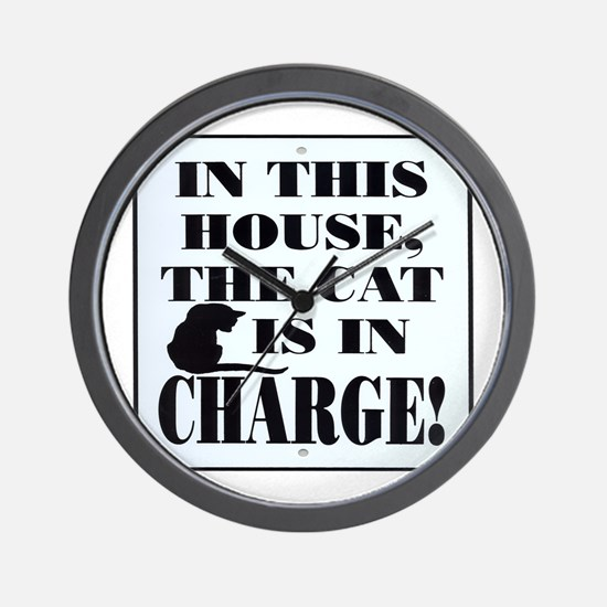Cat in Charge Wall Clock