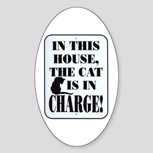 Cat in Charge Oval Sticker