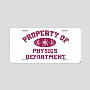 Property of Physics Departm Aluminum License Plate