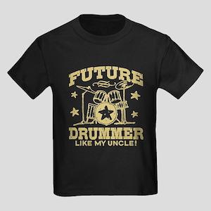 Future Drummer Like My Uncle Kids Dark T-Shirt