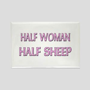 Half Woman Half Sheep Rectangle Magnet