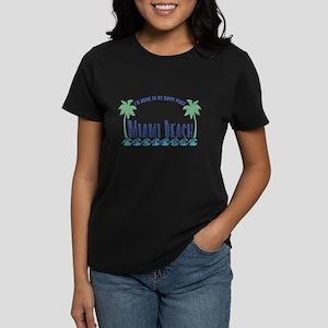 Miami Beach Happy Place - Women's Dark T-Shirt