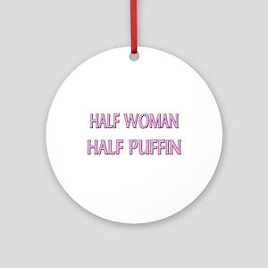 Half Woman Half Puffin Ornament (Round)