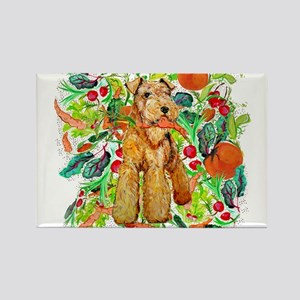 Airedale Terriers go green Rectangle Magnet