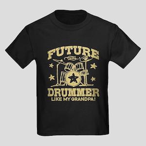 Future Drummer Like My Grandpa Kids Dark T-Shirt