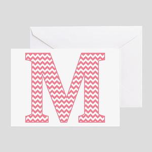 Pink Chevron Letter M Monogram Greeting Cards
