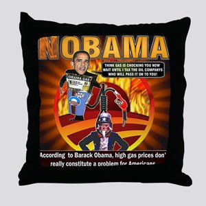 Obama on oil and gas Throw Pillow