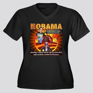 Obama on oil and gas Women's Plus Size V-Neck Dark