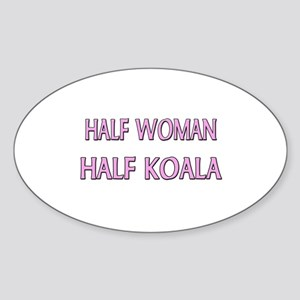 Half Woman Half Koala Oval Sticker