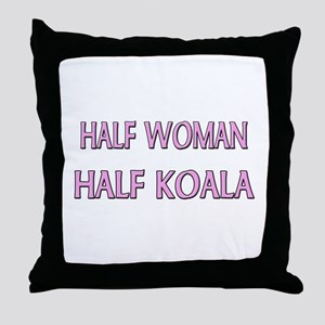 Half Woman Half Koala Throw Pillow