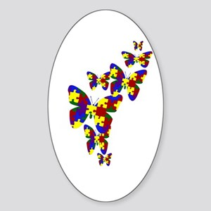 Burst of butterflies Oval Sticker