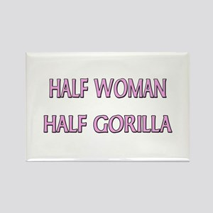 Half Woman Half Gorilla Rectangle Magnet