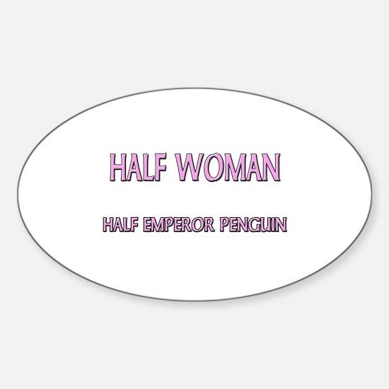 Half Woman Half Emperor Penguin Oval Decal