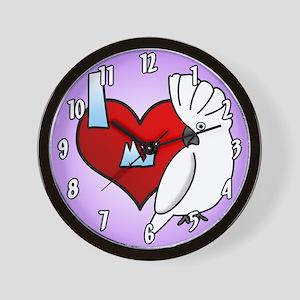 I Love My Umbrella Cockatoo Clock (Cartoon)
