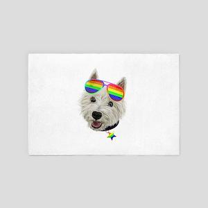 Gay Pride Westie LGBT Dog Sunglasses 4' x 6' Rug