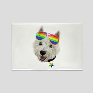Gay Pride Westie LGBT Dog Sunglasses Magnets