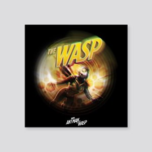 """The Wasp Flying Square Sticker 3"""" x 3"""""""