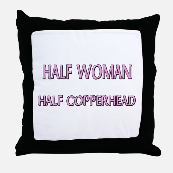 Half Woman Half Copperhead Throw Pillow