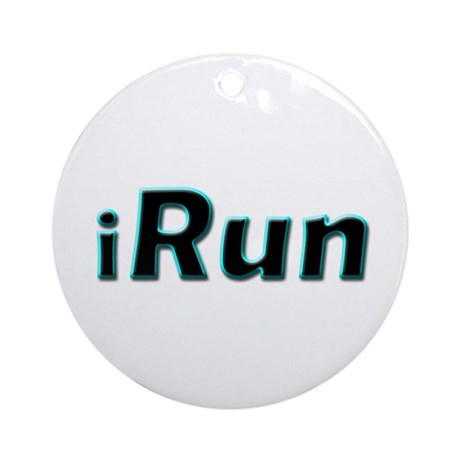 iRun, aqua trim Ornament (Round)