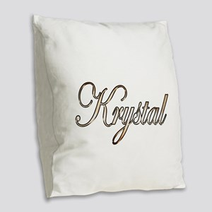 Gold Krystal Burlap Throw Pillow