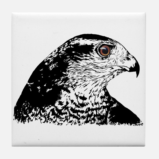 Goshawk B/W Tile Coaster