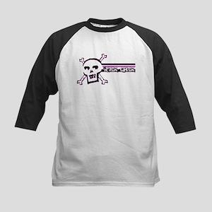 ROCK CHICK: Black Lit Skull Kids Baseball Jersey