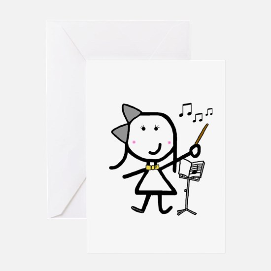 Girl & Conductor Greeting Card