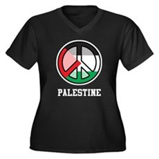 Peace In Palestine Women's Plus Size V-Neck Dark T