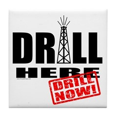 Drill Here and Now Tile Coaster