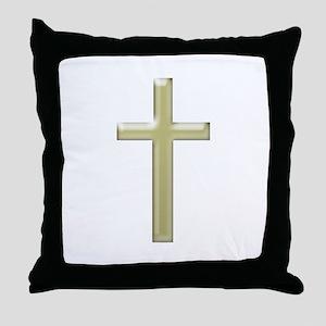 Gold Glass Cross - Throw Pillow
