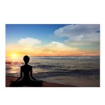 Yoga On The Beach Sunset Postcards (package Of 8)