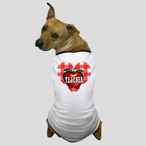 Teacher Checkered Heart Apple Dog T-Shirt