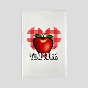 Teacher Checkered Heart Apple Rectangle Magnet